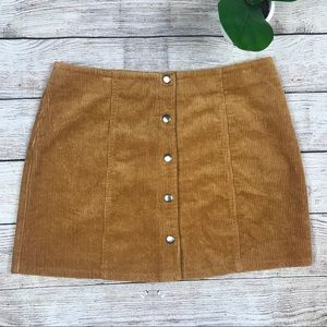 FOREVER 21 Mustard Yellow Corduroy Button Skirt L